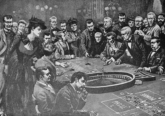 Historiskt poträtt på roulette spel med en större folksamling
