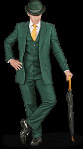Karaktären för Mr Green stiligt klädd i mörkgrönt och lutar sig med ett paraply