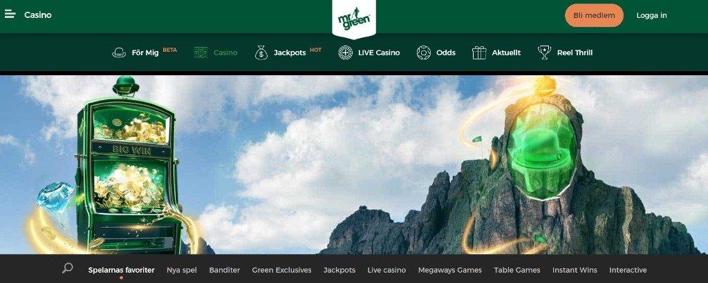 Mr Green hemsida med huvudmenyn och olika spelkategorier
