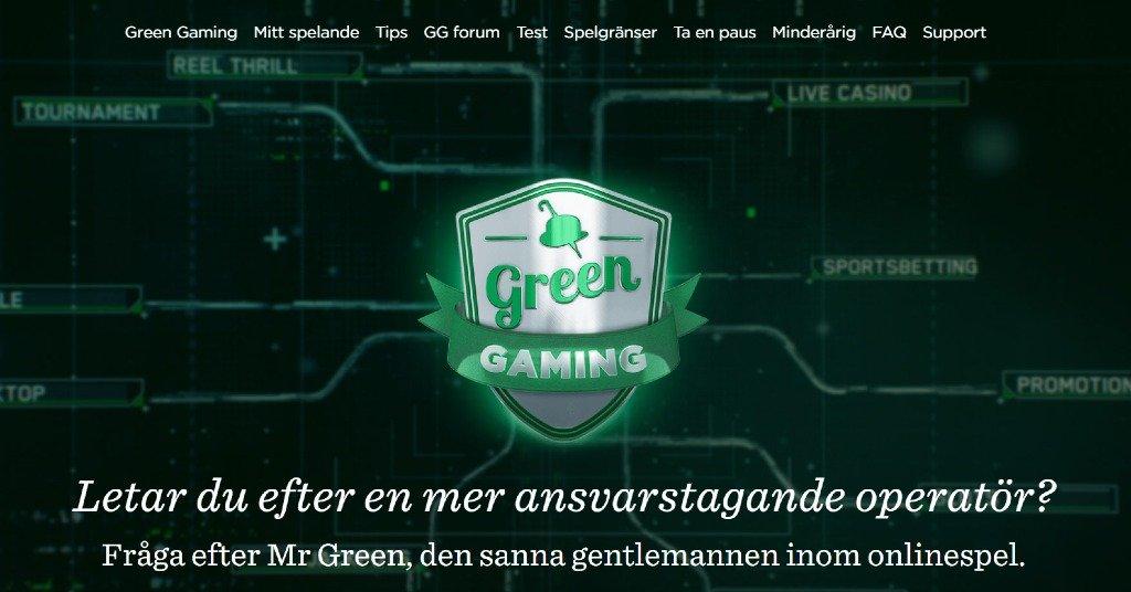Mr Greens webbplats för ansvarsfullt spelande, Green Gaming men information och hjälplänkar