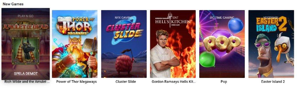 överblick över tillgängliga spel på Thrills som visar olika slotspel under kategorin Nya Spel