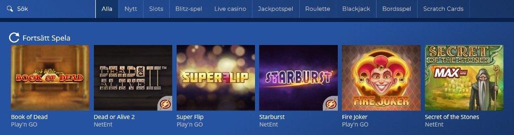 en överblick över tillgängliga spelkategorier och slotspel på Casinoheroes