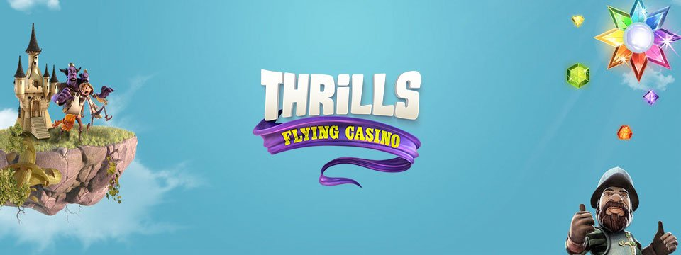 Thrills logo tillsammans med karaktären Gonzo, Starburst-symbolen och ett flygande slott över en blå bakgrund