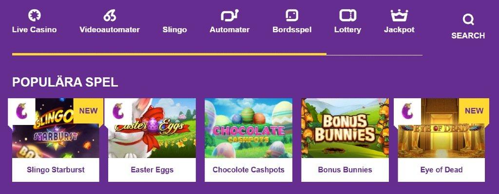 spelkategorier och olika spel tillgängliga på Yako Casino