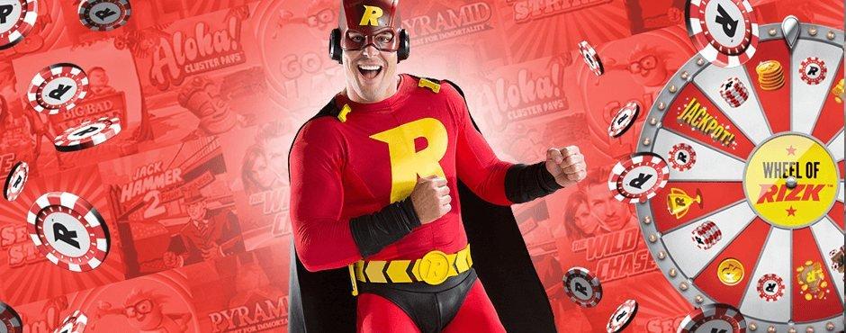 Frontfiguren hos Rizk Casino som är en superhjälte i rött, svart och gult med ett stort R på bröstet och med liknande stil som superman