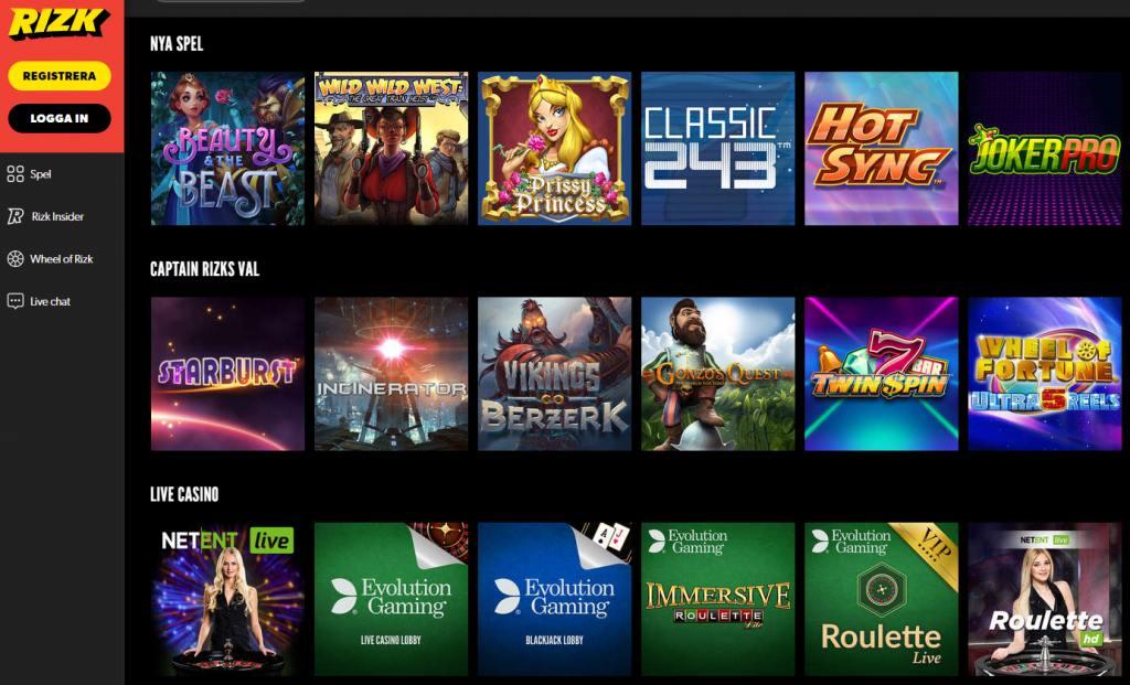 Överblick över tillgängliga spel på Rizk Casino-webbplatsen med huvudmenyn till vänster
