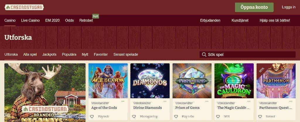 Casinosida hos Casinostugan med tillgängliga spel och kategorier