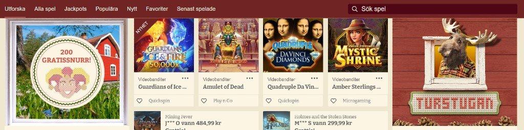Casinostugans hemsida med tillgängliga speltitlar och kategorier samt nuvarande erbjudande
