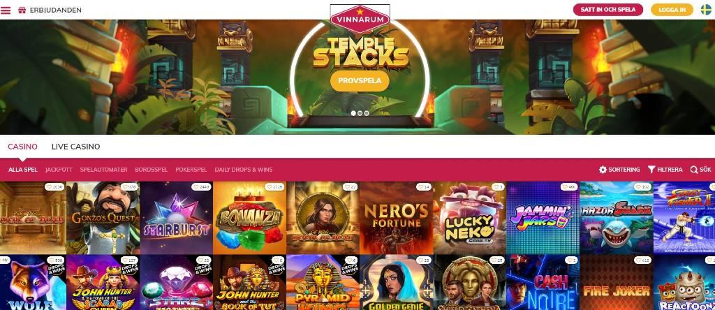 Vinnarum-hemsida med en överblick på tillgängliga spel och kategorier
