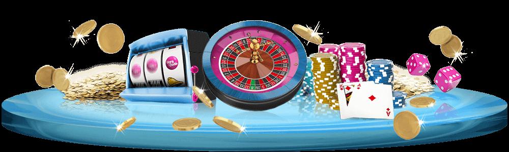 Olika klassiska casinospel på en platta med massor av guldmynt och spelmarker