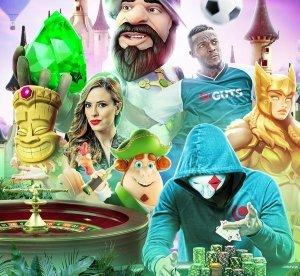 Olika slotkaraktärer, live dealer, roulette-bord, fotbollsspelare och en man i mask som håller i spelmarker framför ett sagoslott