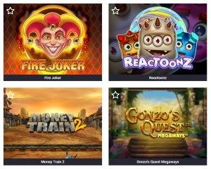 Fyra klassiska spelautomater på Guts Casino med bland annat Fire Joker och Gonzo's Quest