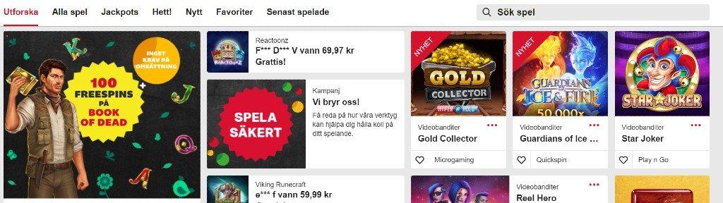 Överblick över tillgängliga spel på Mobilautomaten.com där man kan bland annat se funktionen att gilla spel
