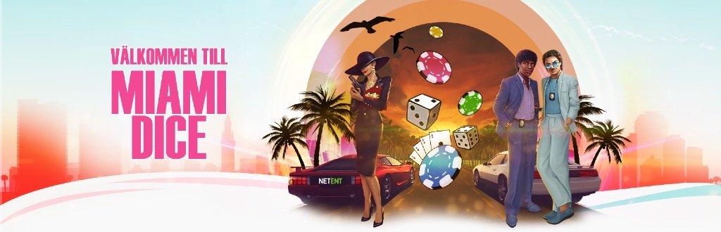 Miami Dice Casino välkomnar spelare med en Miami-inspirerad bild med en mystisk kvinna och två män i kostym framför två bilar och flygande spelmarker