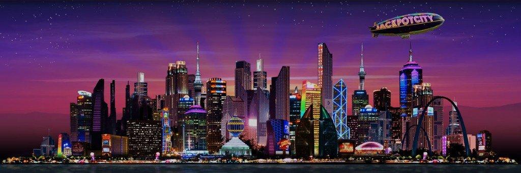 """En storstad under natten upplyst av ljus och ett luftskepp med texten """"Jackpotcity"""""""