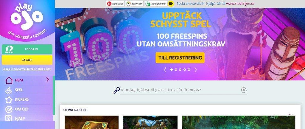 PlayOjo casino-hemsida med deras huvudmeny och nuvarande bonuserbjudande