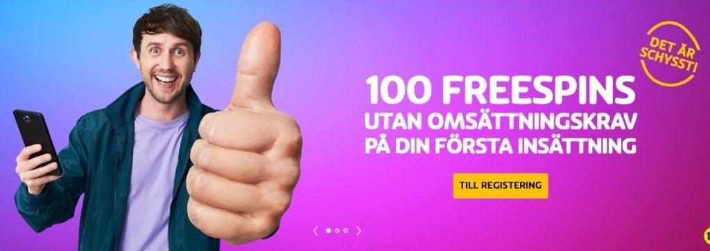 Marknadsföring för Playojo freespins brevid en glad man som håller i sin mobil och håller upp tummen mot läsaren