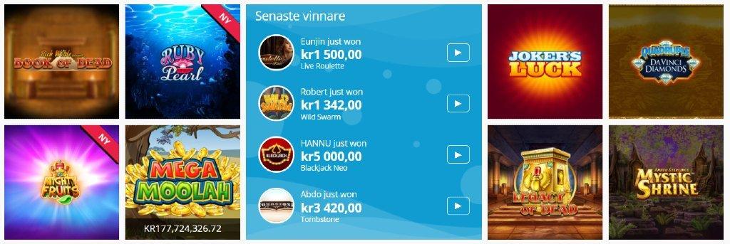 Några tillgängliga speltitlar på Spinland tillsammans med en lista på de senaste vinnarna på webbplatsen