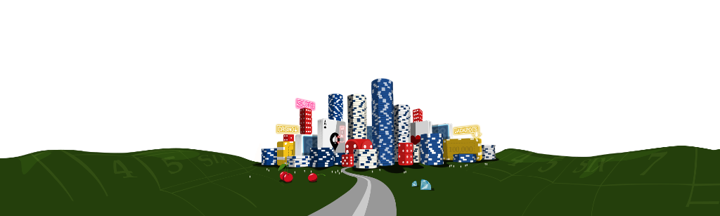 Staden i Spinland Casino som är uppbyggd av spelmarker och omringad av grönt spelbräde