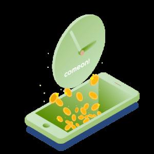 Illustrerad mobil med en klocka ovanför där guldmynt faller emllan de två objekten