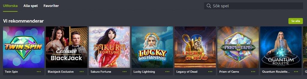 Rekommenderade spel hos ComeOn casino och tillgängliga spelkategorier