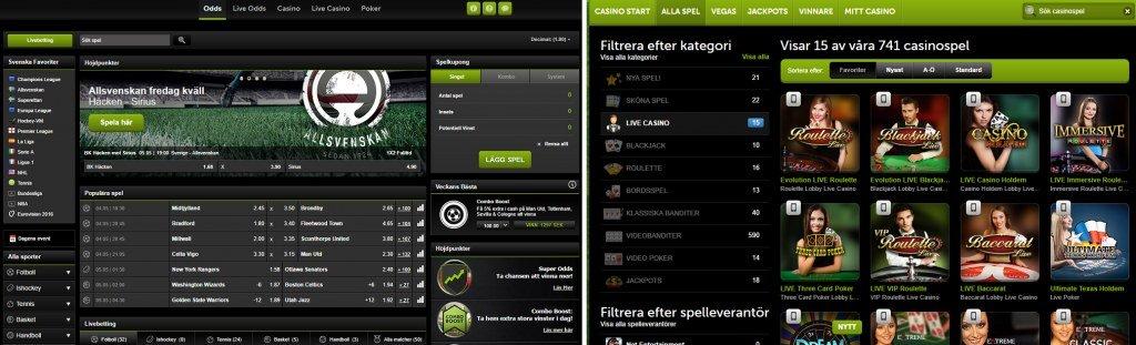 Översikt över ComeOn-casinos spelplattform för casinospel samt odds