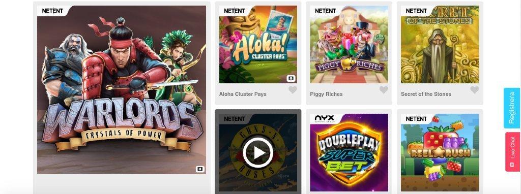 Några tillgängliga speltitlar på Casimba Casino från spellevernatörerna NetEnt och Nyx