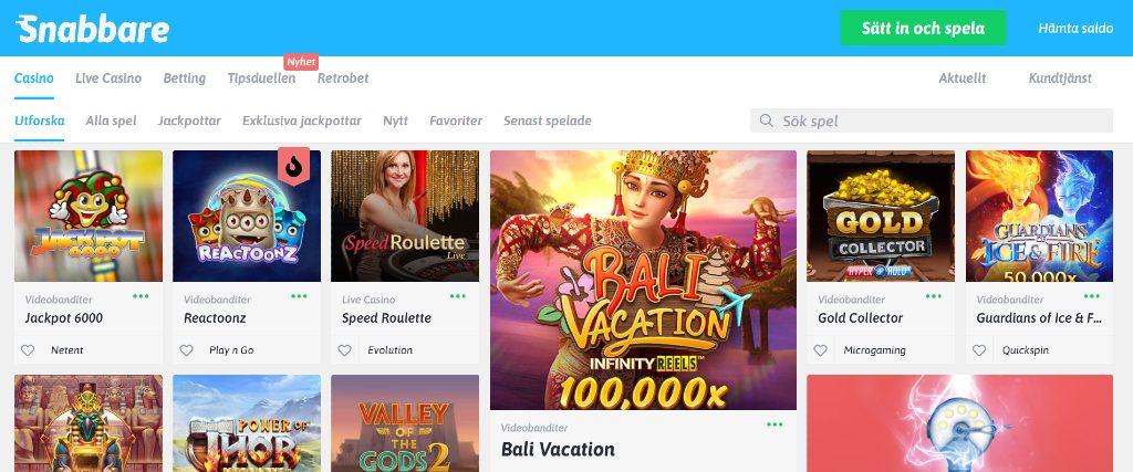 Snabbare casino-hemsida med huvudmeny och utvalda speltitlar och kampanjer