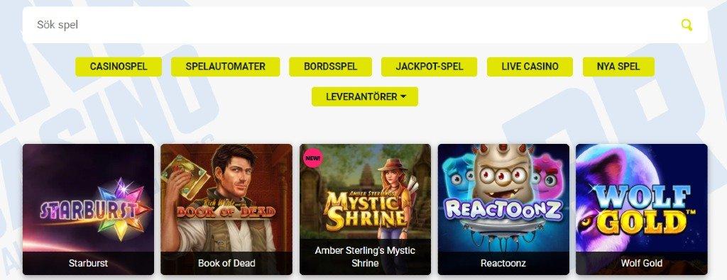 Spelutbudet på Prank Casino där du kan filtrera mellan leverantörer och olika casinospel