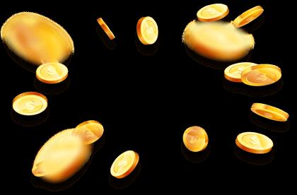 massor av guldmynt som flyger mot skärmen