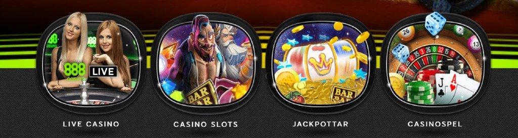 Olika spelkategorier på 888 casino-hemsidan som visar live casino, slots, jackpottar & casinospel