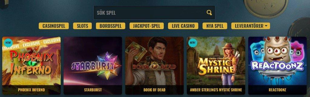 Överblick på tillgängliga spelkategorier hos No Account Casino samt sökfunktionen och några populära titlar som Starburst och Book of Dead