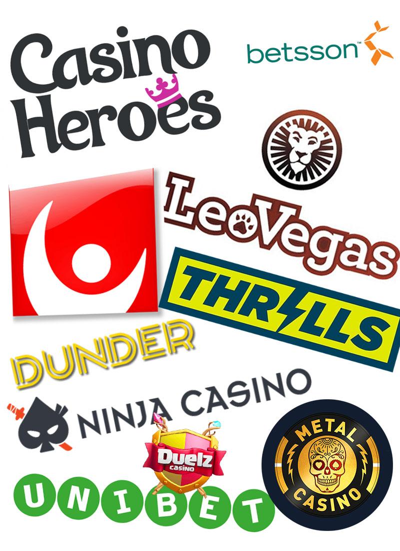 Ikoner för olika spelbolag som LeoVegas, Betsson, Casino Heroes och Svenska spel