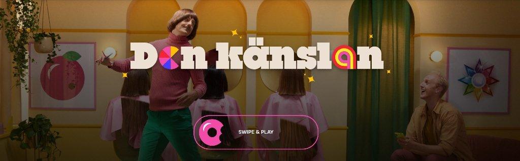 """Hemsida för GoGo Casino med """"Swipe & Play""""-funktion i form av en donut och en lekfull bakgrund"""