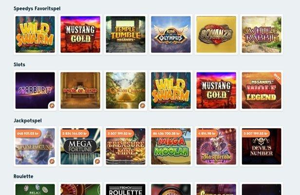 Urval av tillgängliga spel hos Speedy Casino
