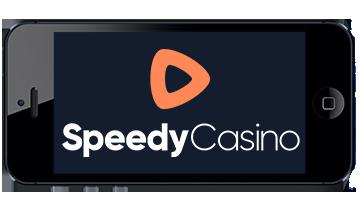 Speedy Casino logo på en mobil