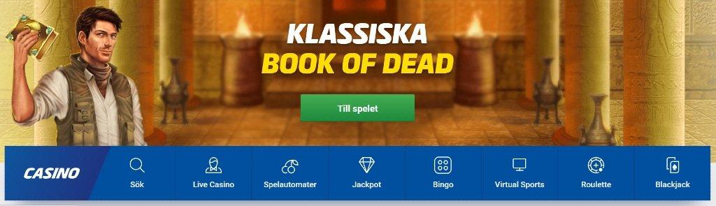 olika kategorier för casinospel på atg casino med klassiska Book of Dead överst