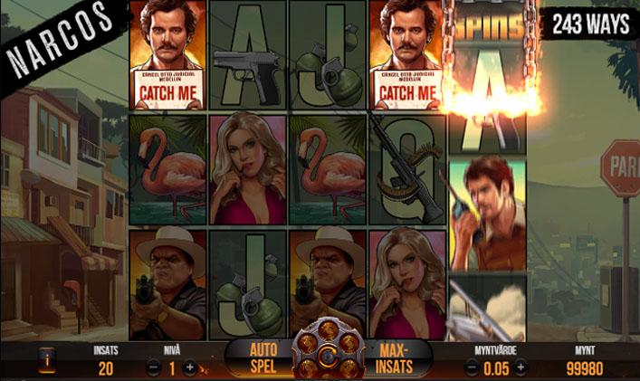 Spelplan för Narcos videoslot