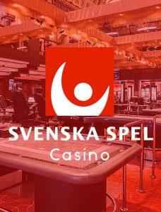 text & logotyp för svenska spel casino framför ett rödfärgat casino