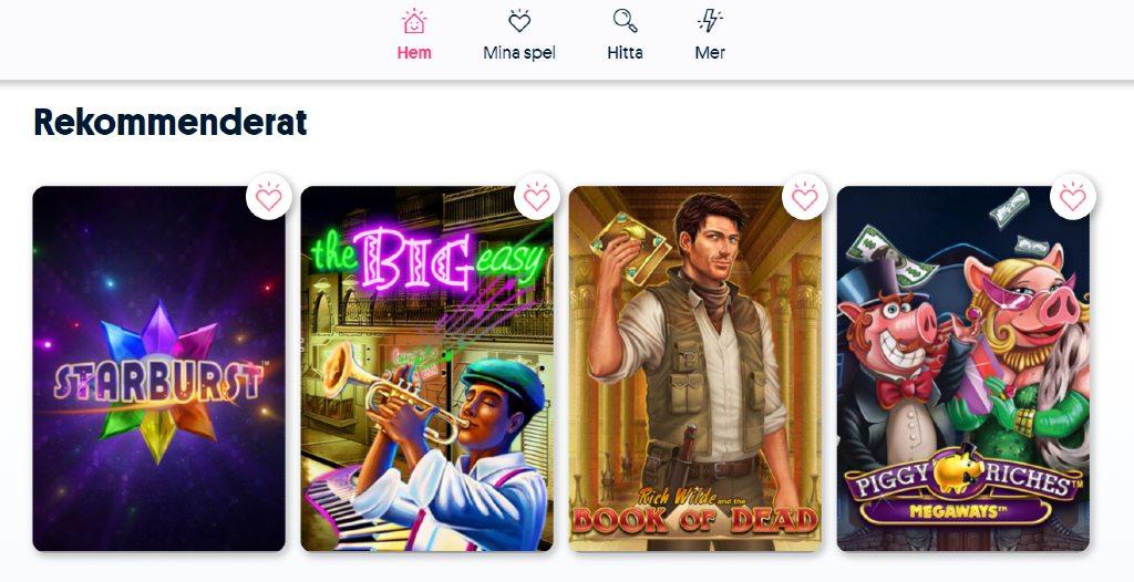 fyra rekommenderade spel från svenska spels spelutbud med bland annat Starburst & Book of Dead