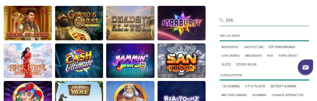 Spelutbud hos Nano casino med deras sökfunktion
