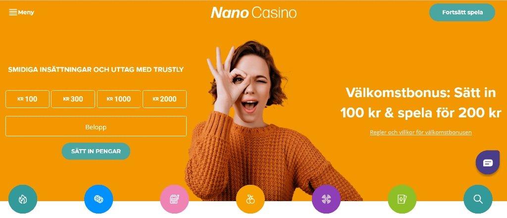 Förstasidan hos Nano casino