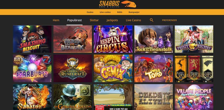 """Överblick på Snabbis-spelsida där du kan filtrera mellan olika kategorier som """"Populärast"""", """"Live Casino"""" och """"Jackpots"""""""