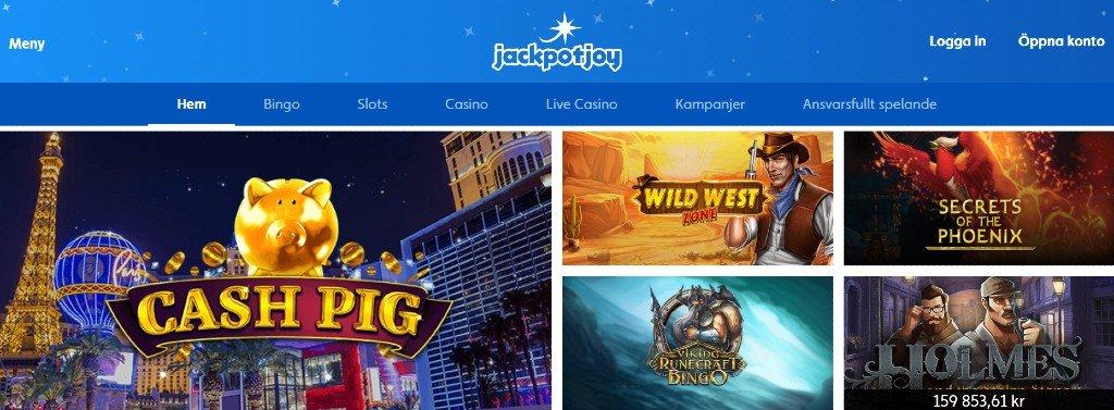 Förstasidan hos Jackpotjoy casino