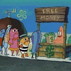 Patrik från Svampbob ger ut gratis pengar
