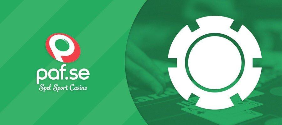 """text med paf.se & """"spel, sport, casino"""" i grönt, vitt & rött"""