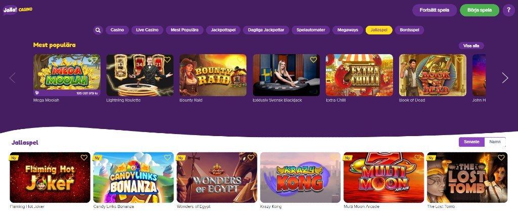Hemsidan för Jalla Casino visar utvalda spel och tillgängliga kategorier för att filtrera alla spel