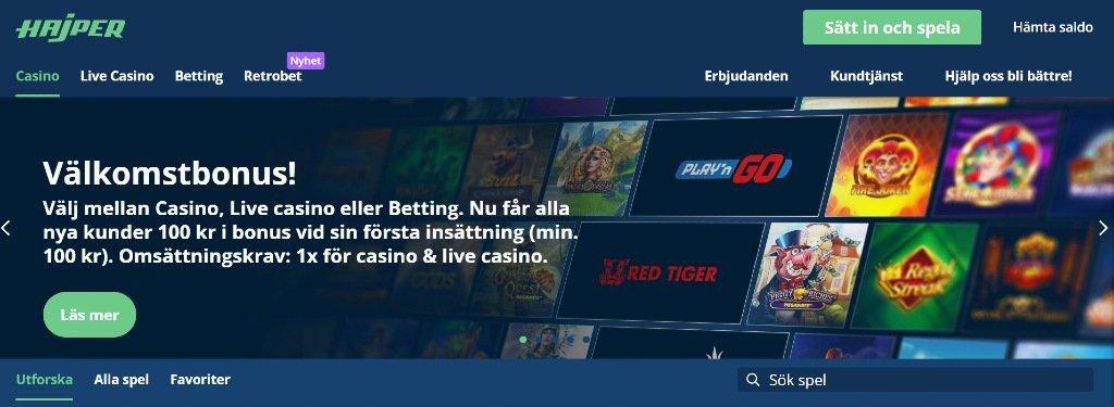 Hajper casino hemsida