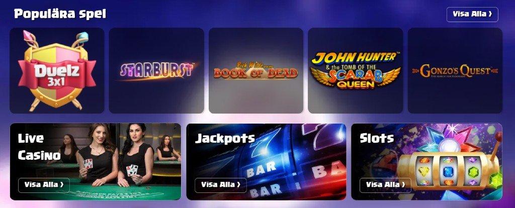 Spelutbud hos Duelz casino