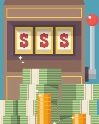 Gammal jackpottmaskin med pengar framför sig